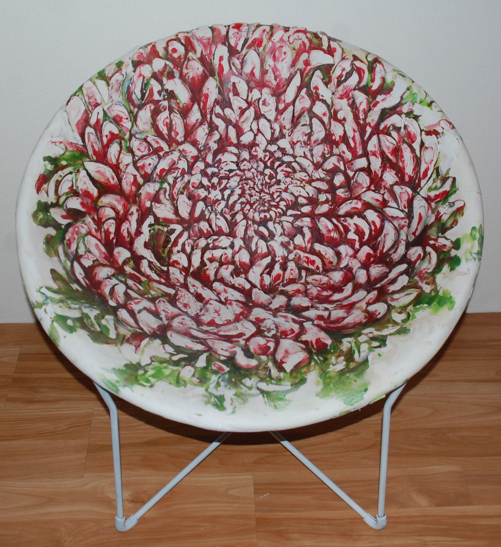Chrysanthemums Chair, 29H x 29W x 29D inches refurbished vintage chair, woven canvas strips, layers of plaster cured, sanded and carved. Painted with acrylics, varathane, and waxed to enhance colors