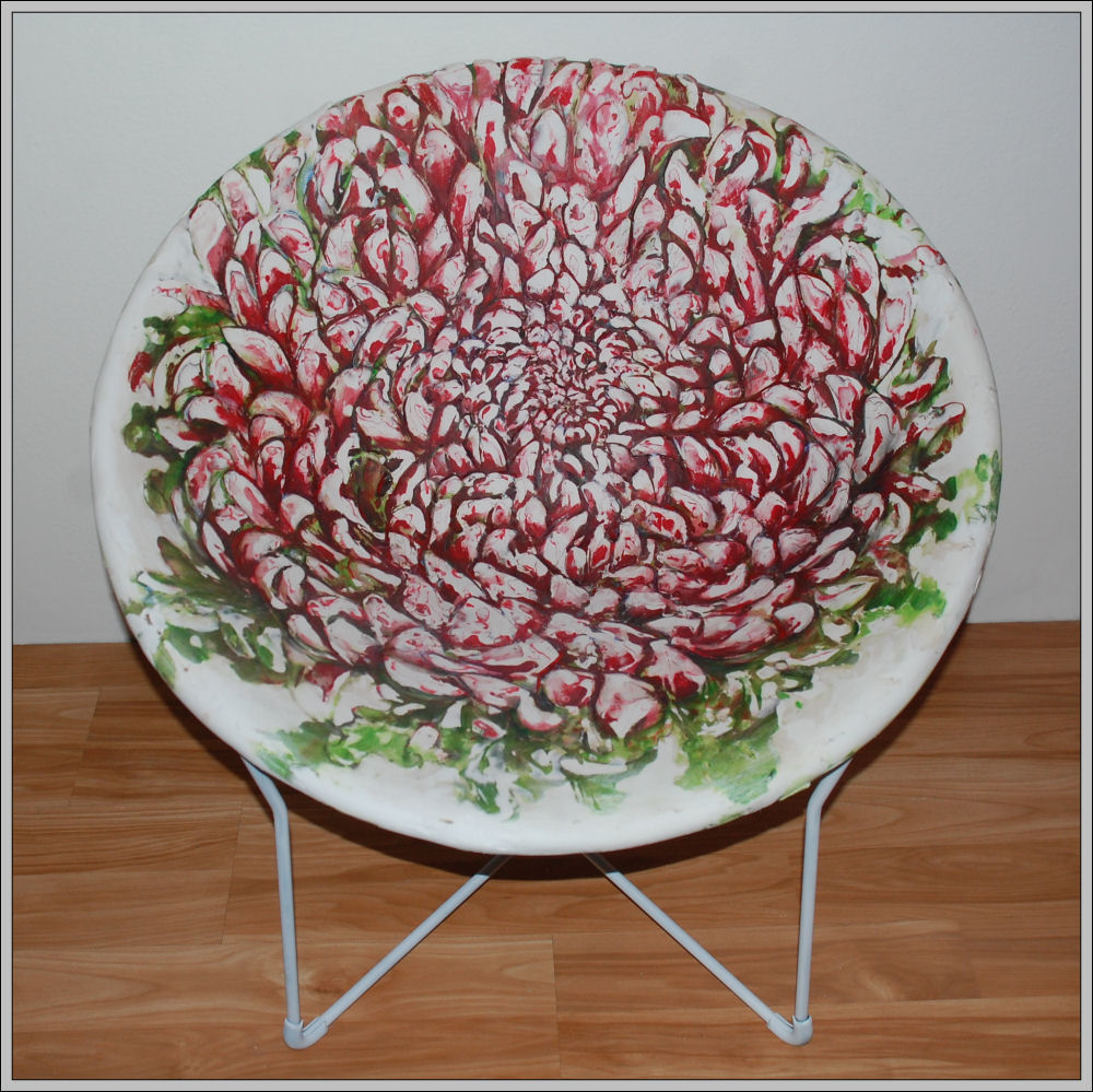 Chrysanthemums Chair, 29H x 29W x 29D inches refurbished vintage chair, woven canvas strips, layers of plaster cured, sanded and completely carved. Painted with acrylics, varathane, and waxed to enhance colors.