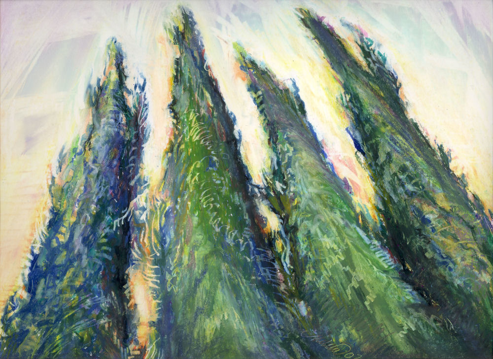 Dancing With Trees 01 Cedar hedge, Coppell, Texas USA 14 x 11 inches oil pastels on paper