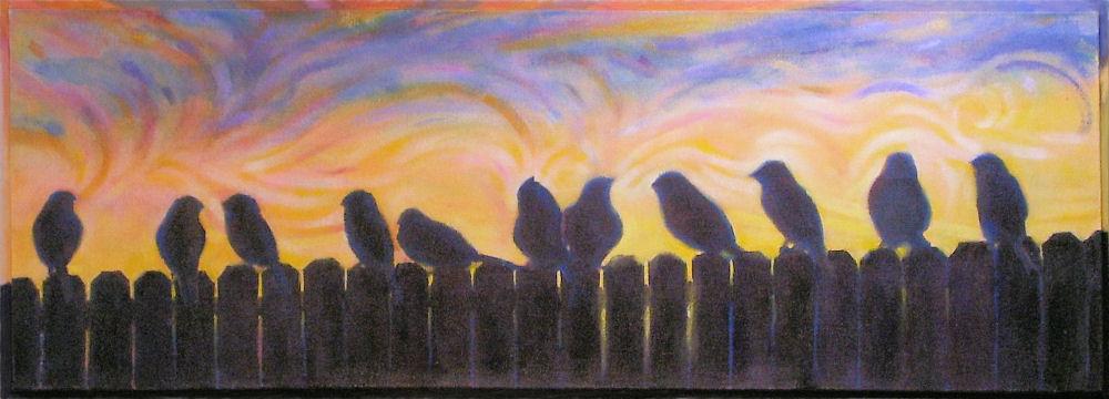Dawn, 13H x 37W x 1D inches acrylics on canvas