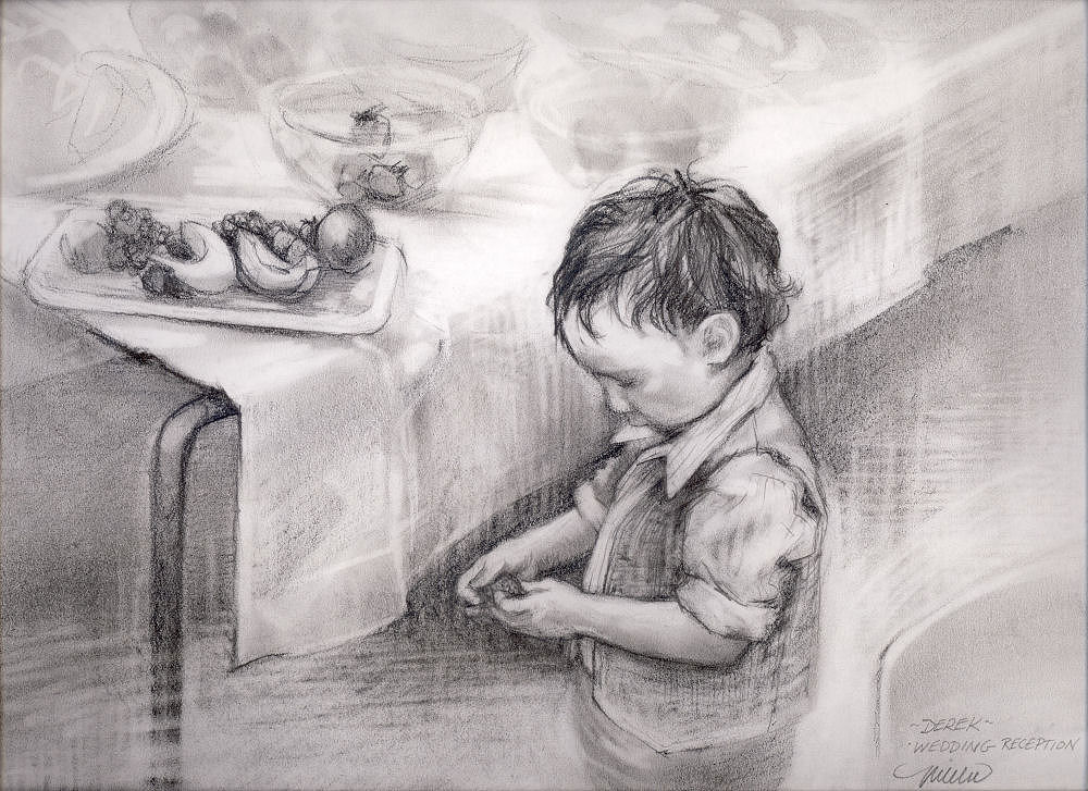 Derek at the Wedding, 11 x 14 inches graphite on paper