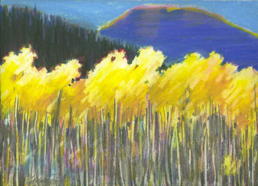 Gold In The Mountains, Kananaskas Valley, Alberta, Canada 14 x 11 inches oil pastels on paper