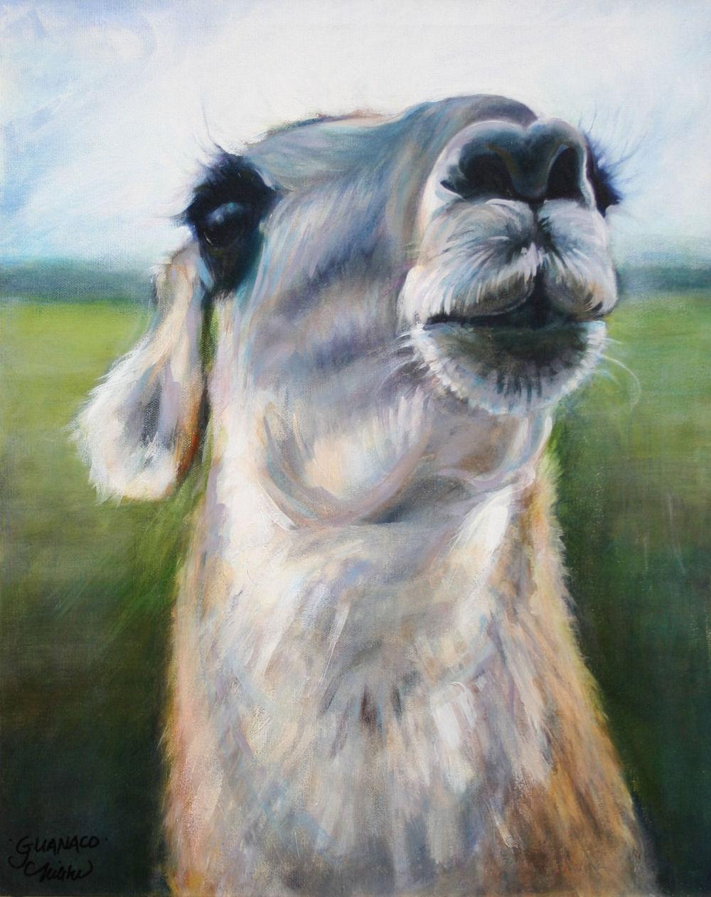 Guanaco - Fossil Rim Wildlife Park, Glenrose, Texas - 20H x 16W inches acrylics on canvas, framed
