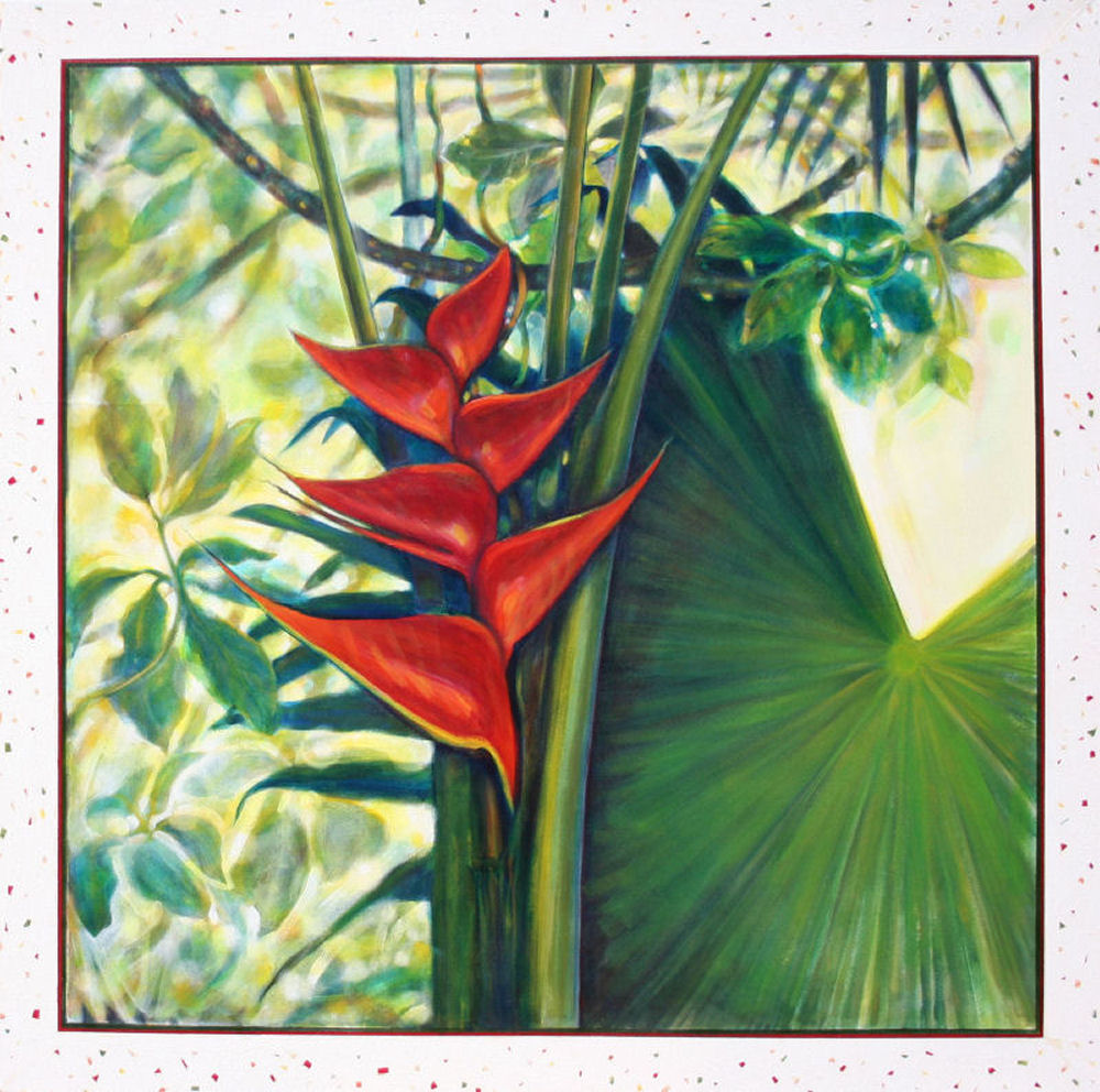 Heliconia, or Lobster Claw, 48H x 48W x 1D inches acrylics on canvas, frame unnecessary