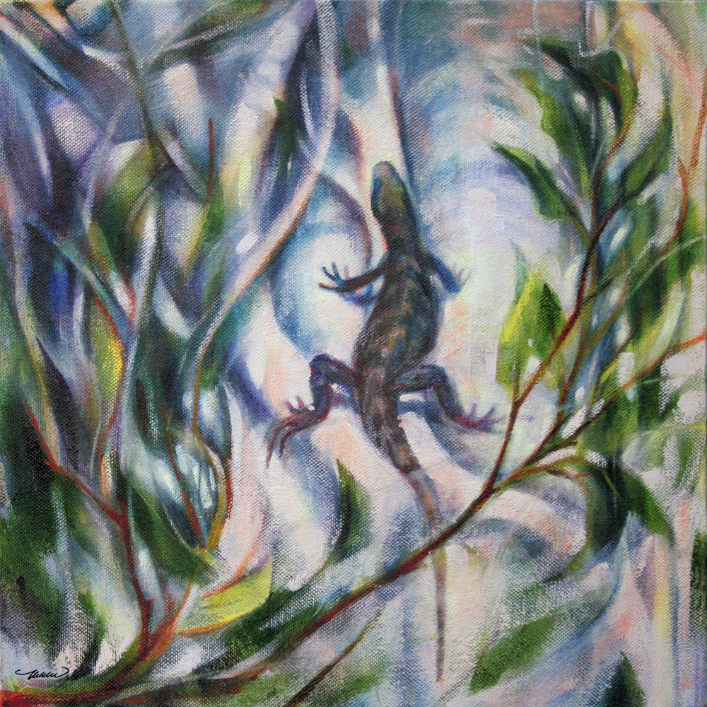 Iguana on Strangling Fig - Costa Rica, 11H x 11W x 3D acrylics on canvas, sides painted