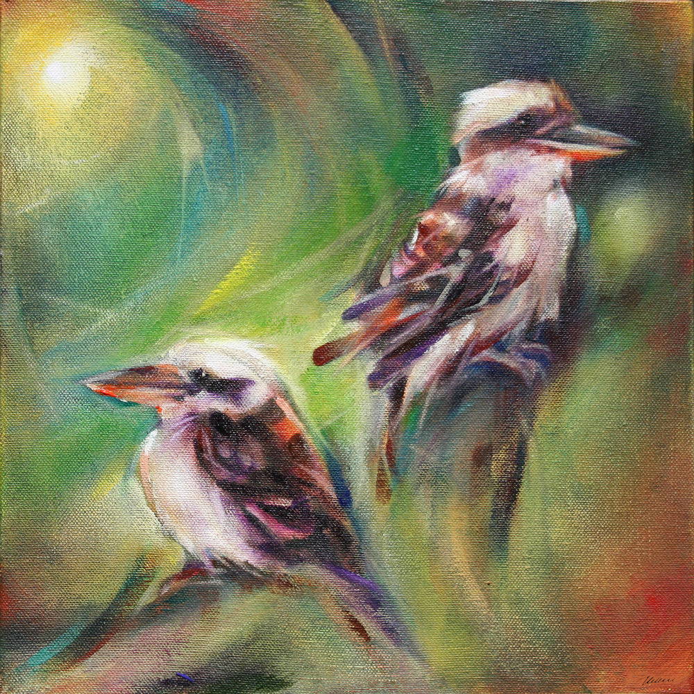Kookaburrahs at the Australia Zoo, Beerwah, Queensland, 11H x 11W x 3D inches acrylics on canvas, gallery wrapped sides painted