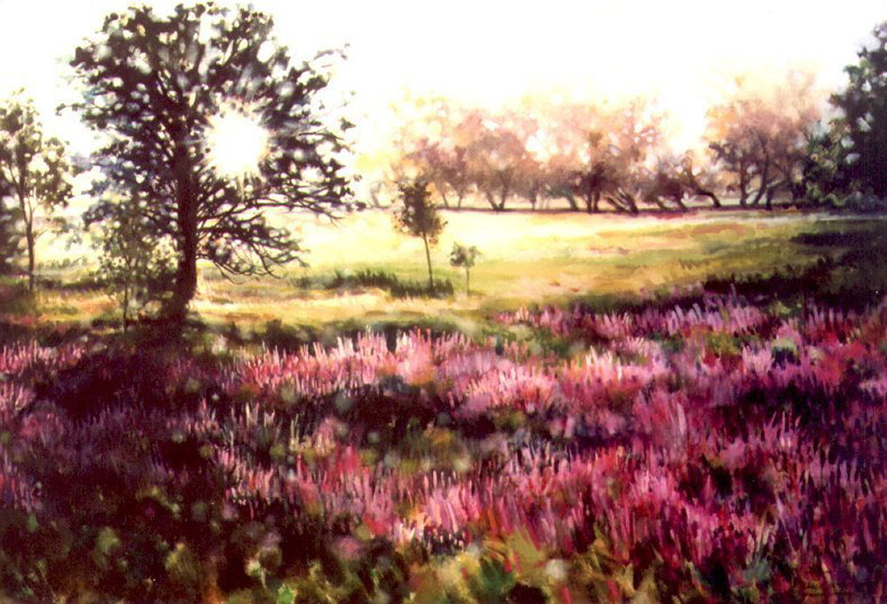 Loosestrife and Oak tree, Fallowfield, Ontario, Canada, 41H x 58W x 2D acrylics on canvas, wrapped sides painted. Older work, 1996
