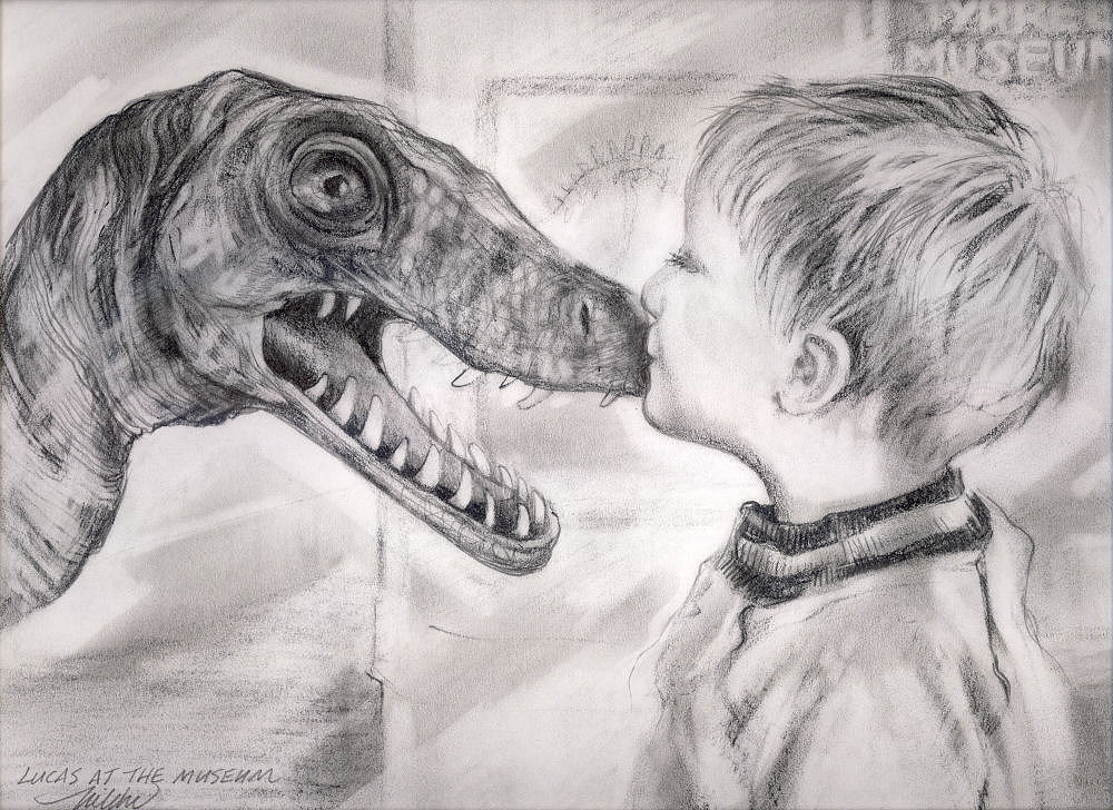Lucas at the Museum, 11 x 14 inches graphite on paper