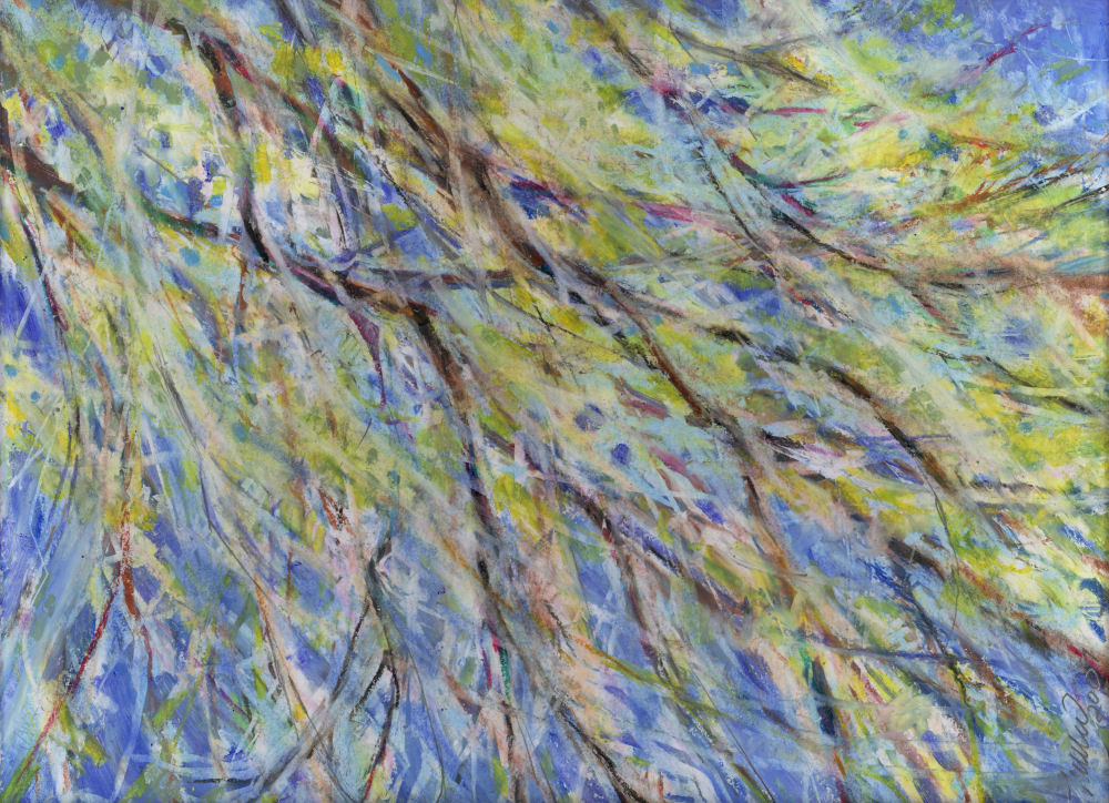 March Winds, Coppell, Texas, 14H x 11W inches oil pastels on paper, ode to Jackson Pollock via oil pastels.