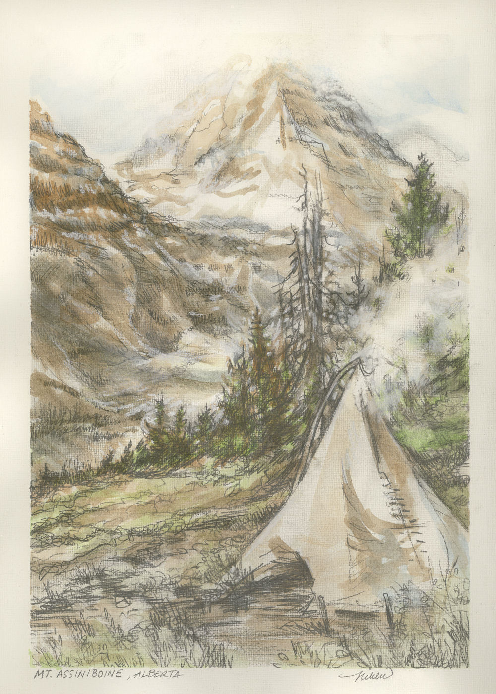 "Mt. Assiniboine, Alberta 12H x 9W inch watercolor and graphite study from antique books of hand-colored ""Vandyck Photogravures"" of Canadian Rocky Mountains scenery, cards only"