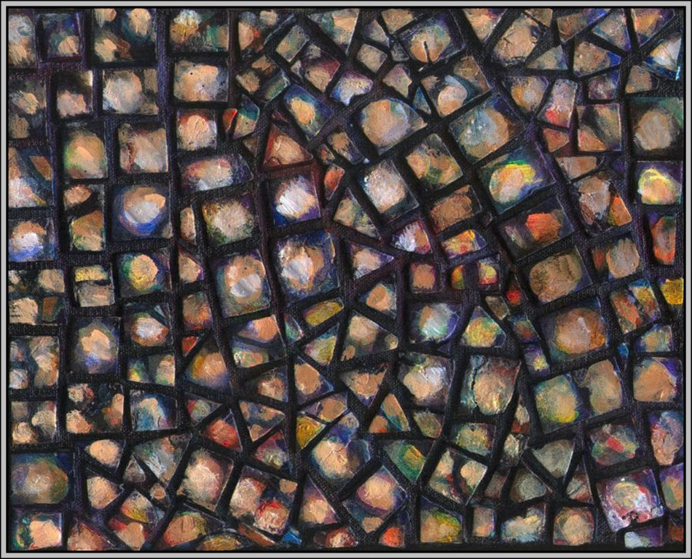 Pebbles Mosaic 01 - Set of four 8 x 10 x 1 inch hand-made tiles on wrapped canvas.  Acrylics, varnish,  sides painted to continue mosaic look, frames unnecessary, many hanging orientations possible