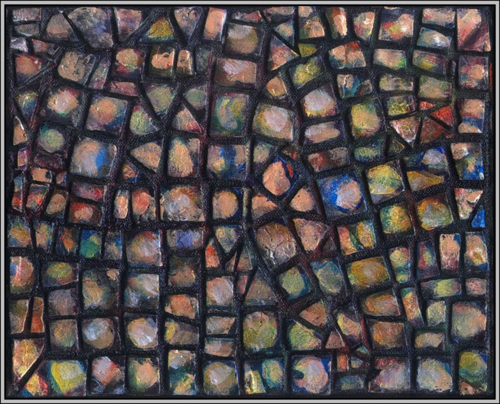 Pebbles Mosaic 02 - Set of four 8 x 10 x 1 inch hand-made tiles on wrapped canvas.  Acrylics, varnish,  sides painted to continue mosaic look, frames unnecessary, many hanging orientations possible