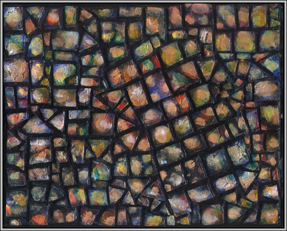 Pebbles Mosaic 03 - Set of four 8 x 10 x 1 inch hand-made tiles on wrapped canvas.  Acrylics, varnish,  sides painted to continue mosaic look, frames unnecessary, many hanging orientations possible