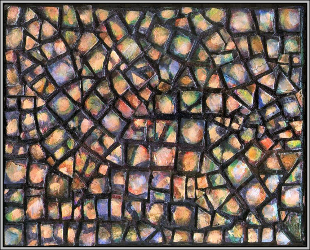 Pebbles Mosaic 04 - Set of four 8 x 10 x 1 inch hand-made tiles on wrapped canvas.  Acrylics, varnish,  sides painted to continue mosaic look, frames unnecessary, many hanging orientations possible