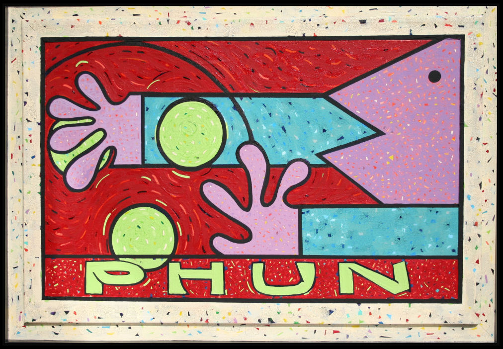 PHUN, 24H x 36W inch acrylics on canvas mounted inside a box-frame, 30H x 48W x 2D inches total size, narrow black trim