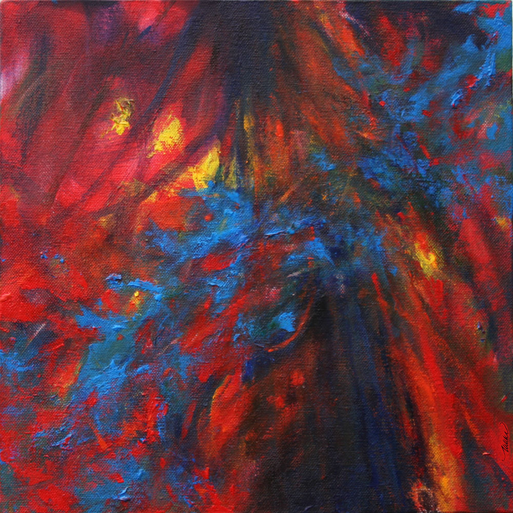 Paint Arson, Sequoia and Redwood National Forest, California, 11H x 11W x 3D acrylics on canvas, wrapped sides painted