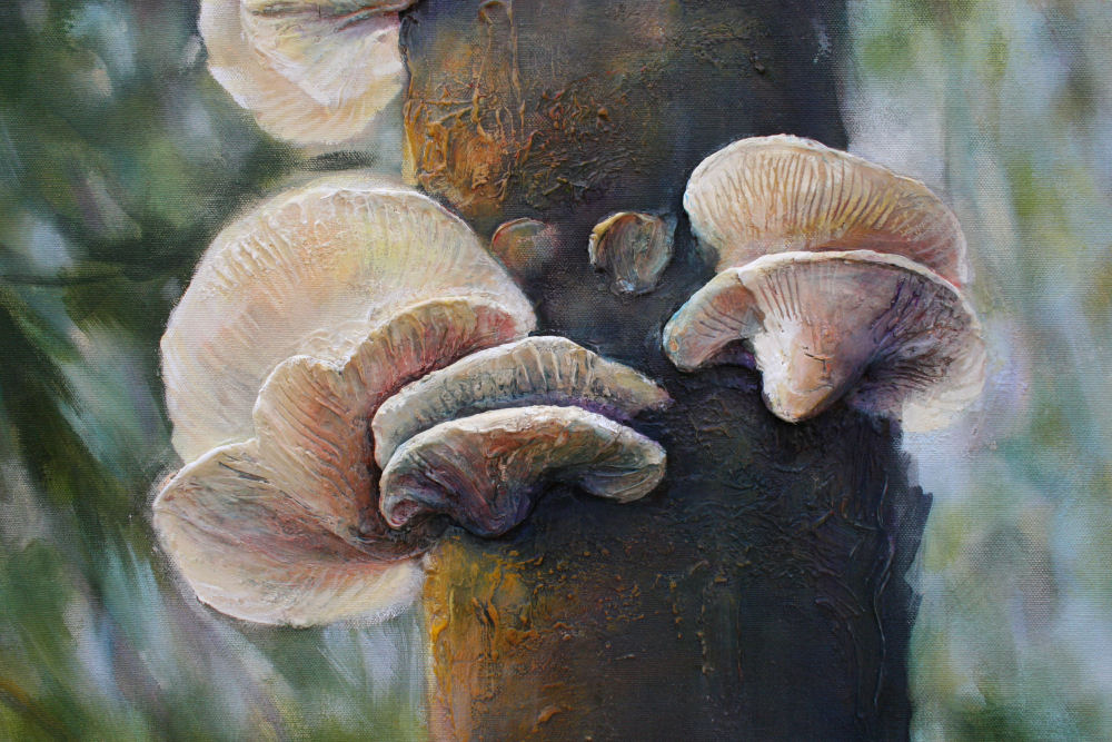 Polypore Fungi - Detail of 58H x 41W x 2D inches acryilcs, modeling paste on canvas