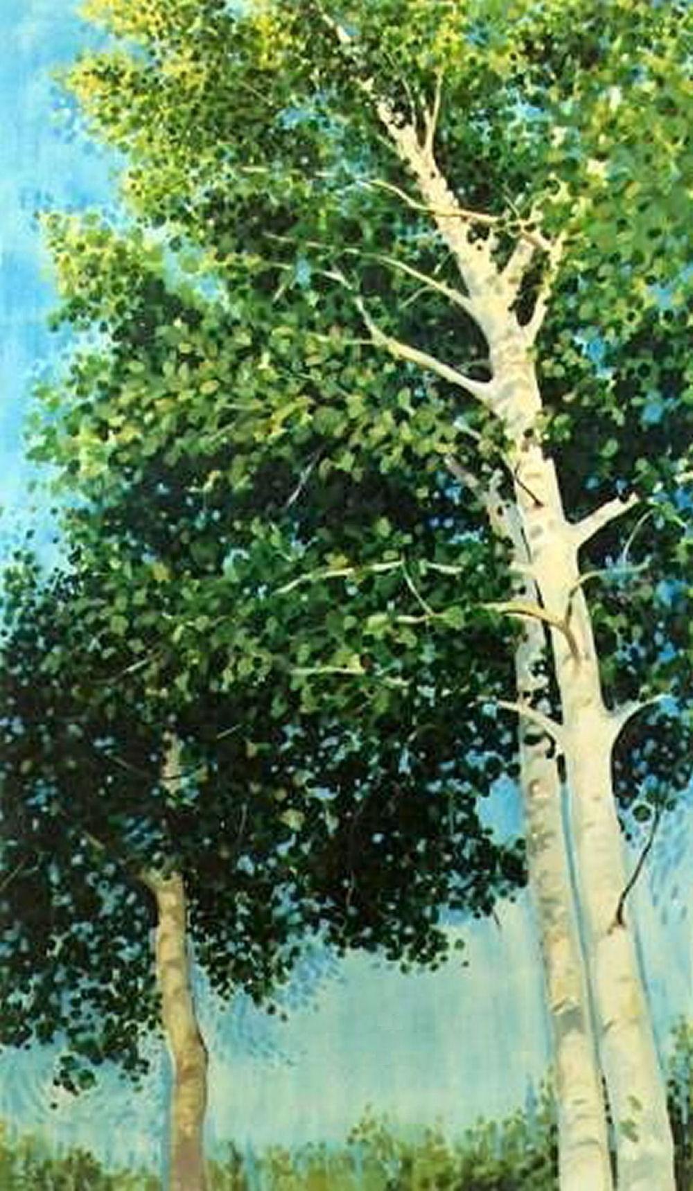 Aspen, Maine, USA, 50H x 28W inches acrylics on canvas, narrow frame. Older work, 1996