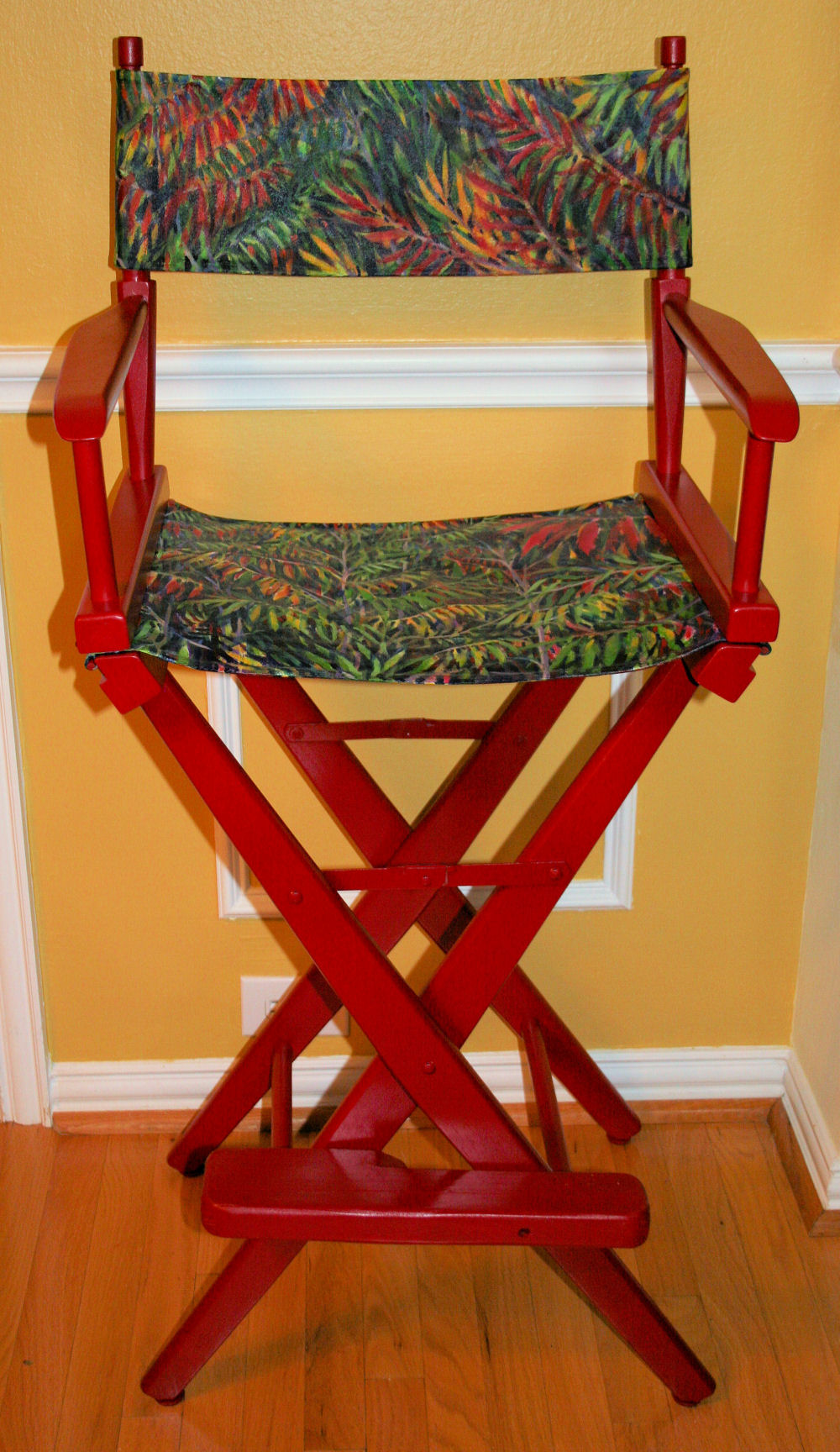 Sumac Bushes refurbished Director's Chair, acrylics on canvas, 48H x 23W x 16D inches