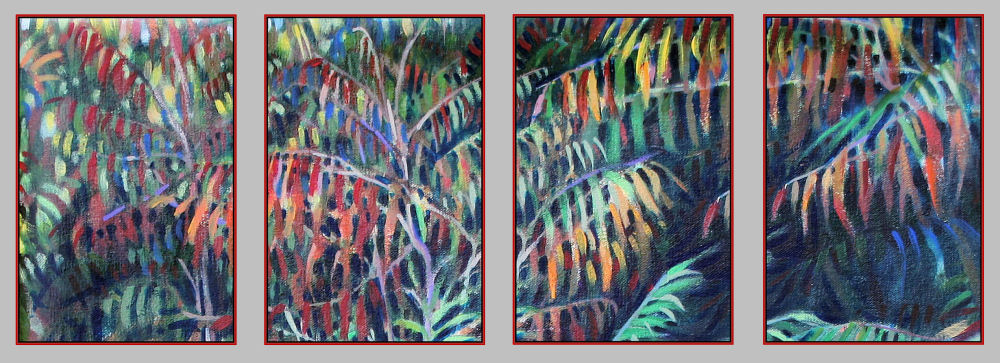 Sumac Bushes, set of four 6 x 4 inch acrylics on canvas paintings with red frames hang above the Sumac Bushes director's chair
