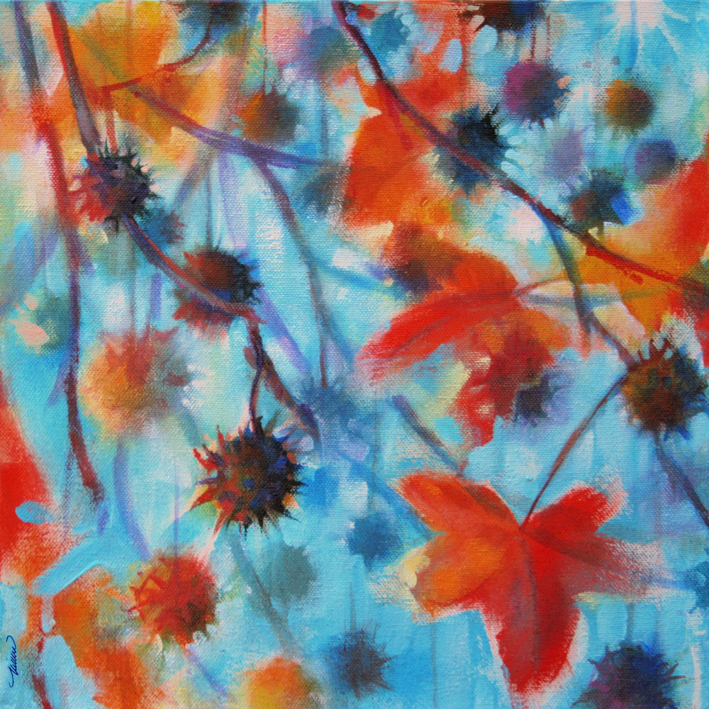 Sweetgum Seed Capsules - Autumn in Texas - 11H x 11W x 3D acrylics on canvas, sides painted