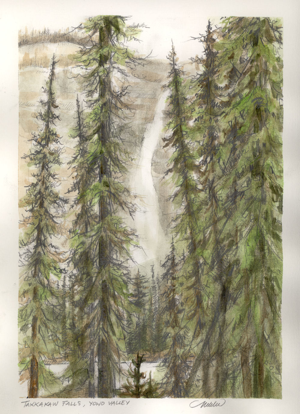 Takkakaw Falls, Yoho National Park near Field BC Canada, 12H x 9W inch watercolor and graphite study from antique books of hand-colored Vandyck Photogravures of Canadian Rocky Mountains scenery. Study, private collection. Cards only
