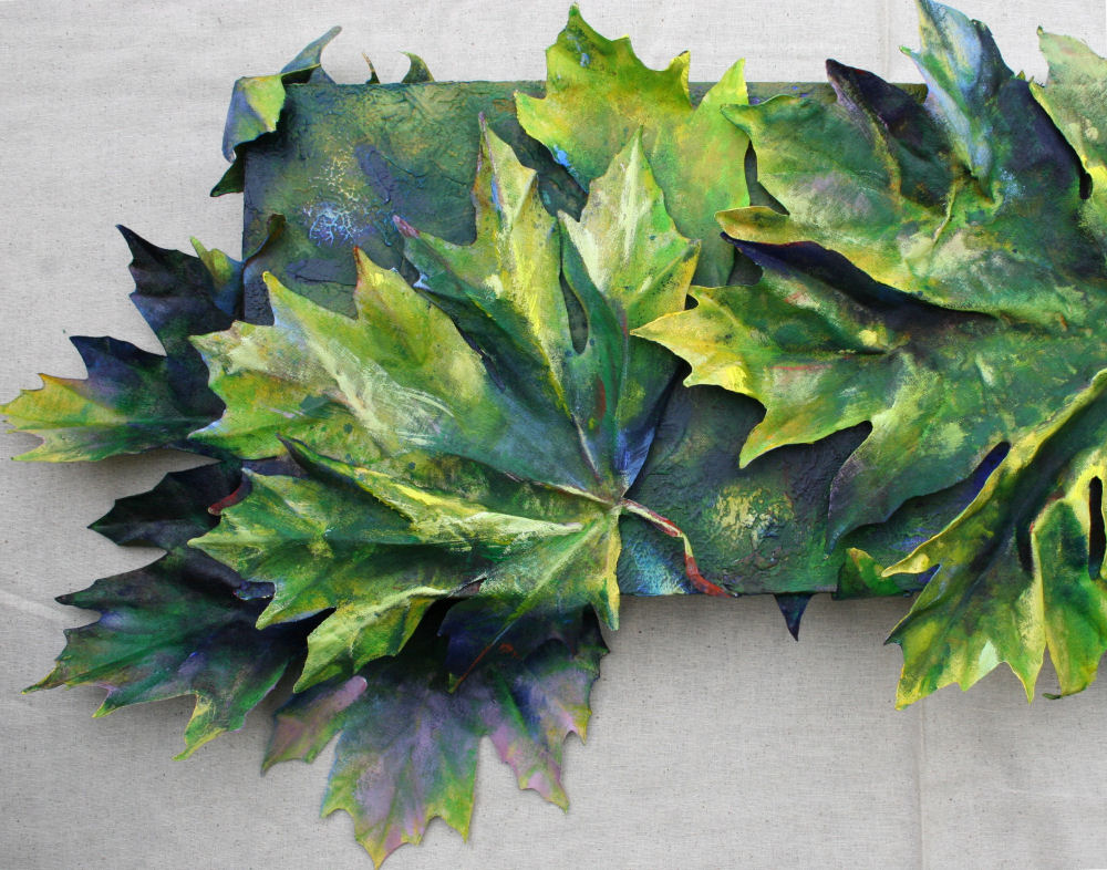 What Bigleaf Maples Do At Night - top, left, bottom or right detail of 36 x 12 x 3D inches acrylics on canvas