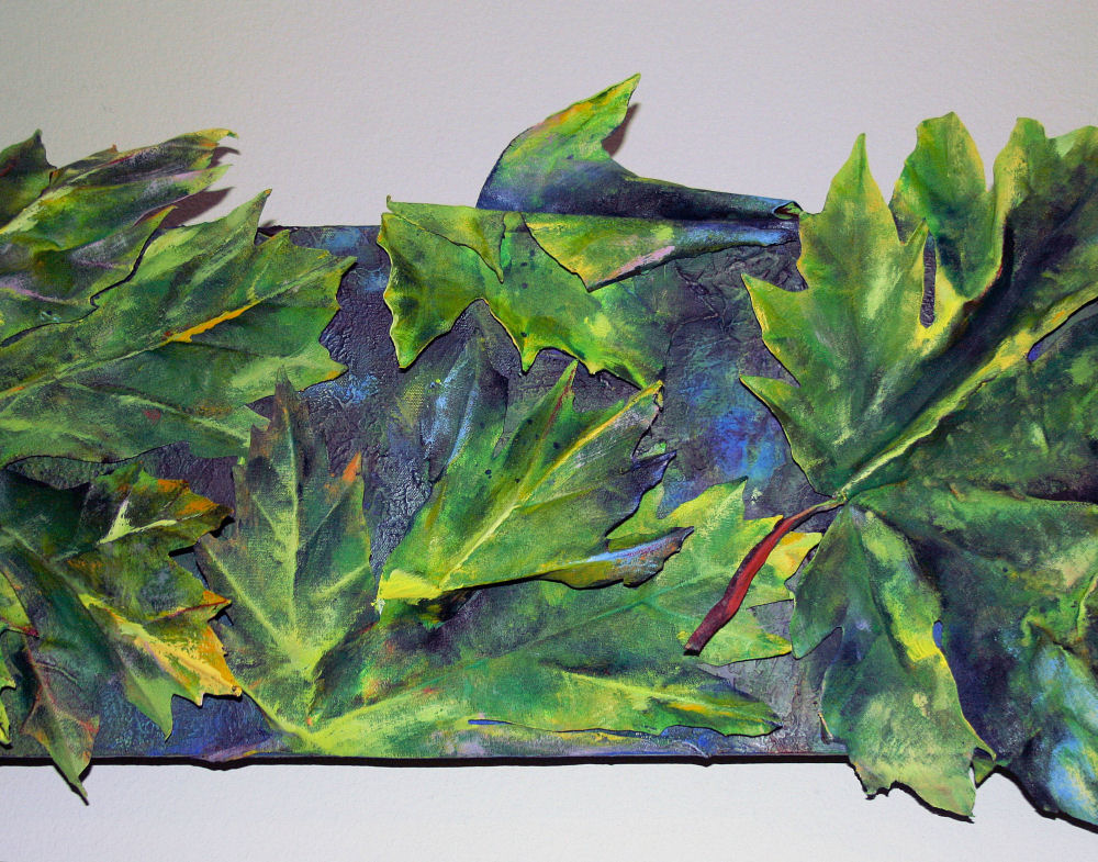 What Bigleaf Maples Do At Night - central detail of 36 x 12 x 3D inches acrylics on canvas
