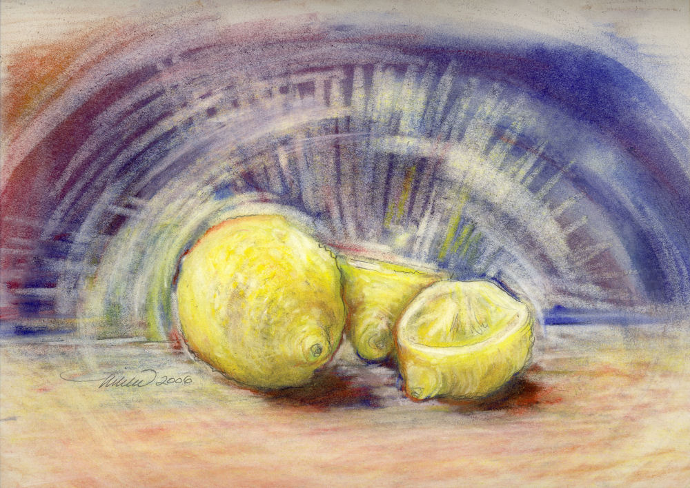 When Life Brings You Lemons Draw Them, 11H x 14W Soft Pastels on paper, cream colored mat