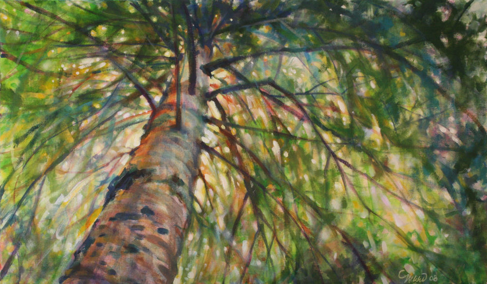White Pine Bows, 20H x 34W x 2D inches acrylics on canvas. Sold, can be replicated special order