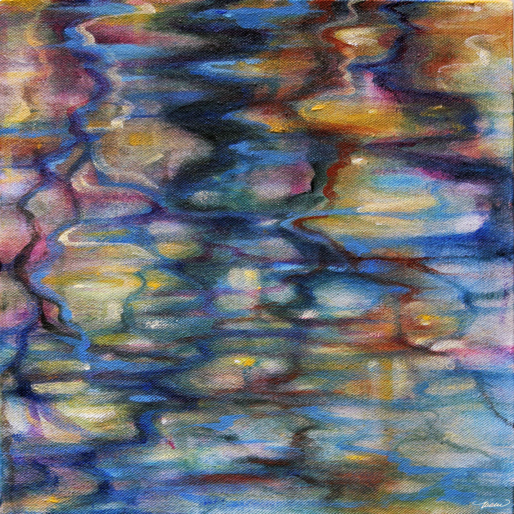 Winter Reflections, Coppell, TX, 11H x 11W x 3D inches acrylics on canvas, wrapped sides painted