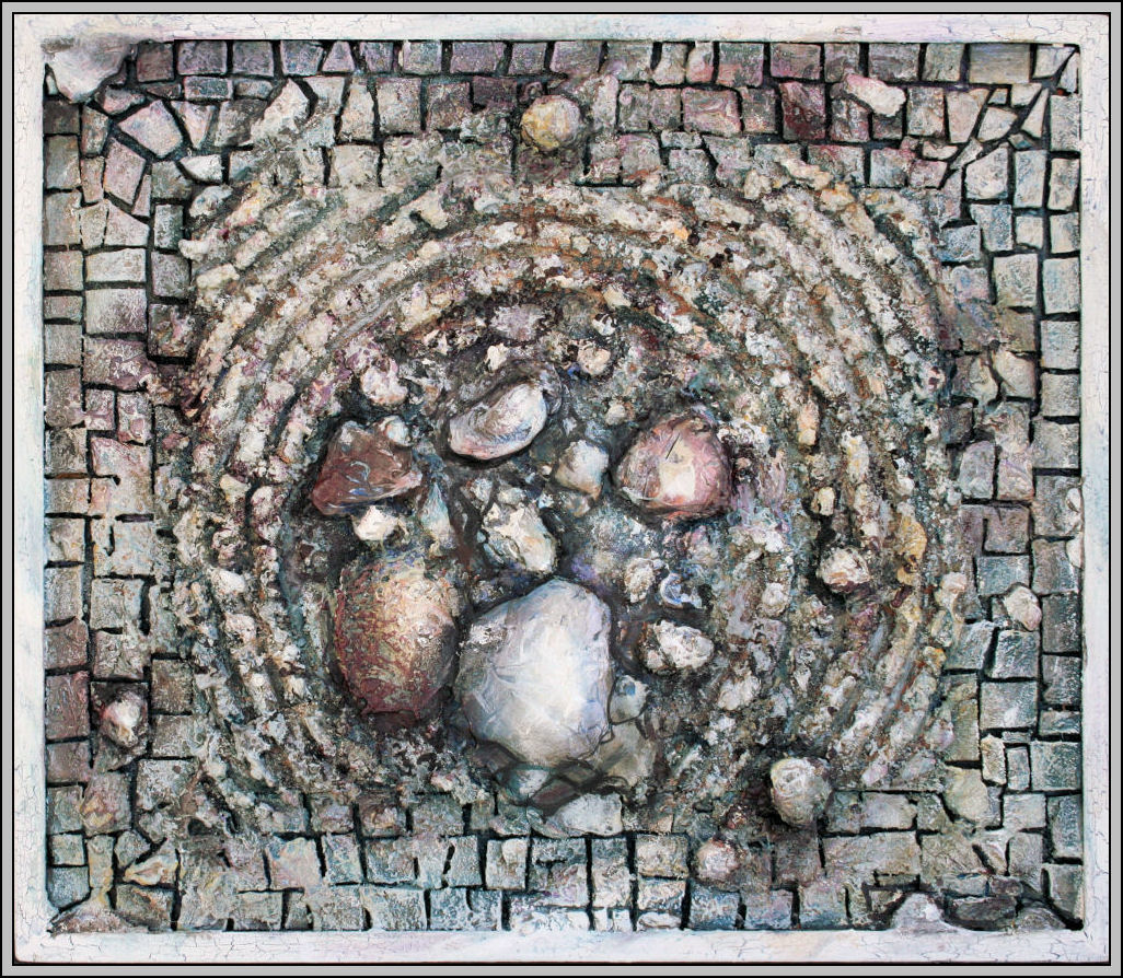 Zen Garden 07, 17H x 19W x 1D mixed media, handmade tiles on masonite, crackle-finished wood frame
