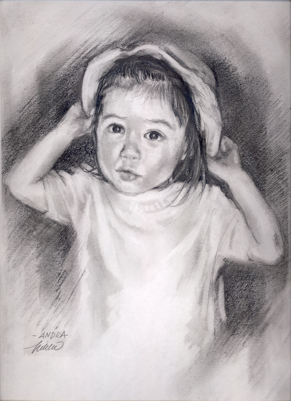 Andra's New Hat, 11 x 14 inches graphite on paper