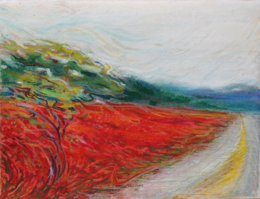Speeding by the Poppies, Hwy 40 Tennessee 14 x 11 inches oil pastels on paper