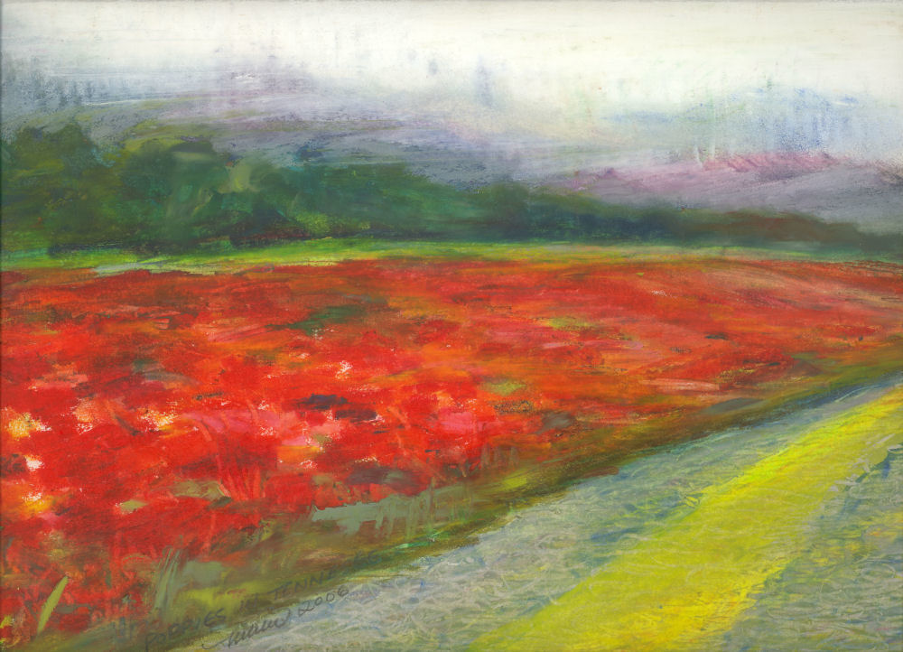 Tennessee Poppies, Hwy 40 Tennessee 14 x 11 inches oil pastels on paper