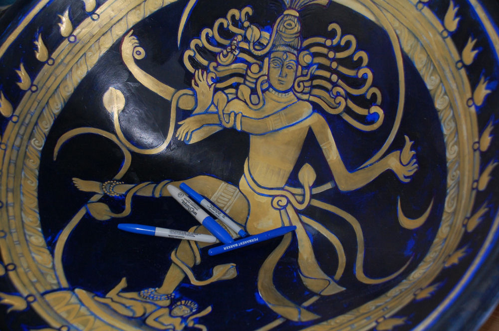 Shiva as Nataraj chair, 1st varnish then using markers to outline detail