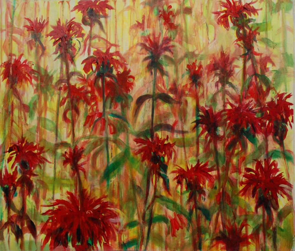 Monarda, stage 3 of 24H x 28W inches acrylics on heavy bristol board