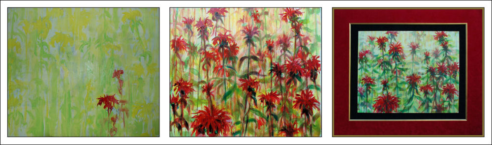 Monarda photo compilation: in progress and finished piece framed