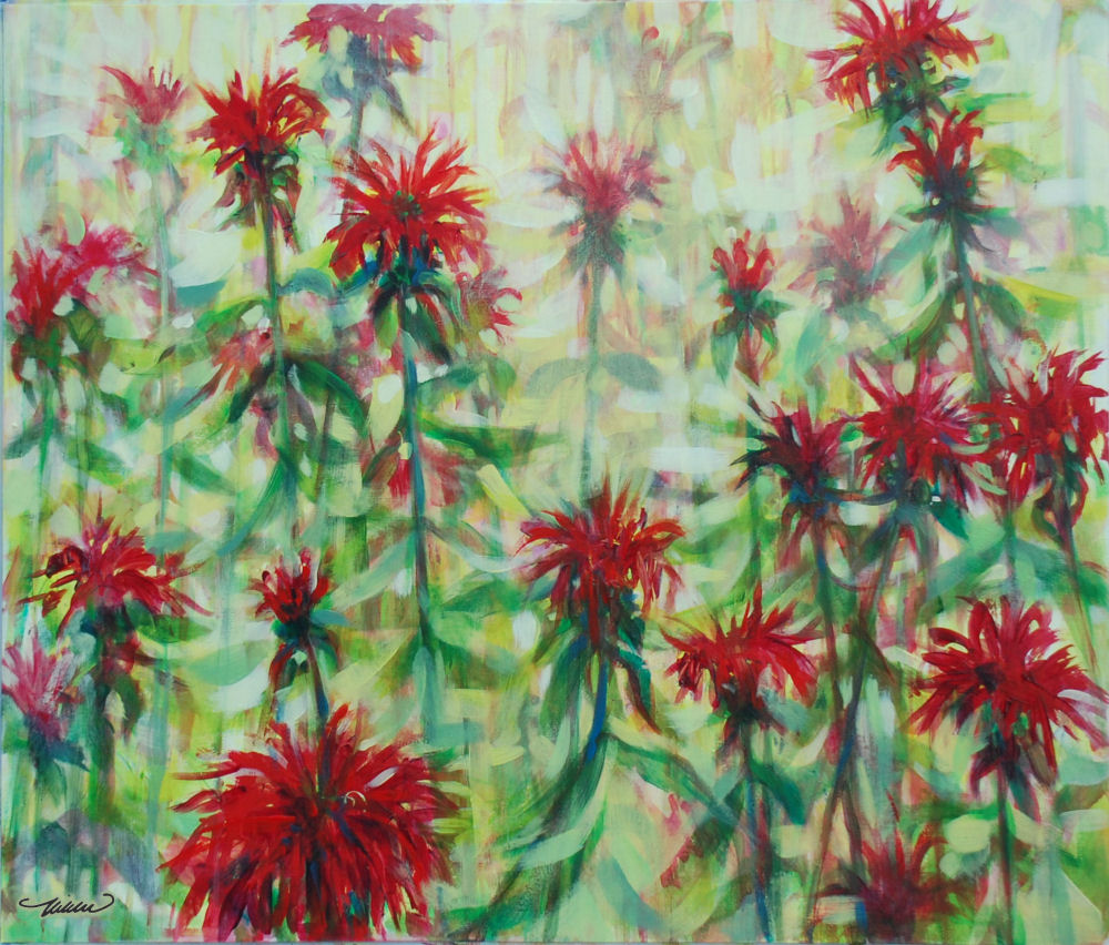 Monarda, 24H x 28W inches acrylics on heavy bristol board