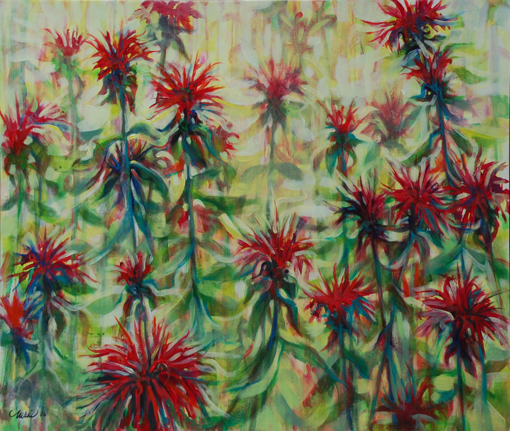 Monarda finished, 24H x 28W inches acrylics