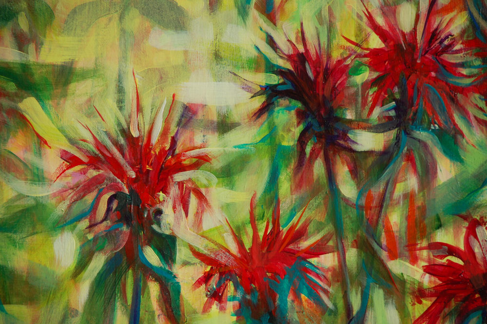 Monarda, lower right detail of 24H x 28W inches acrylics