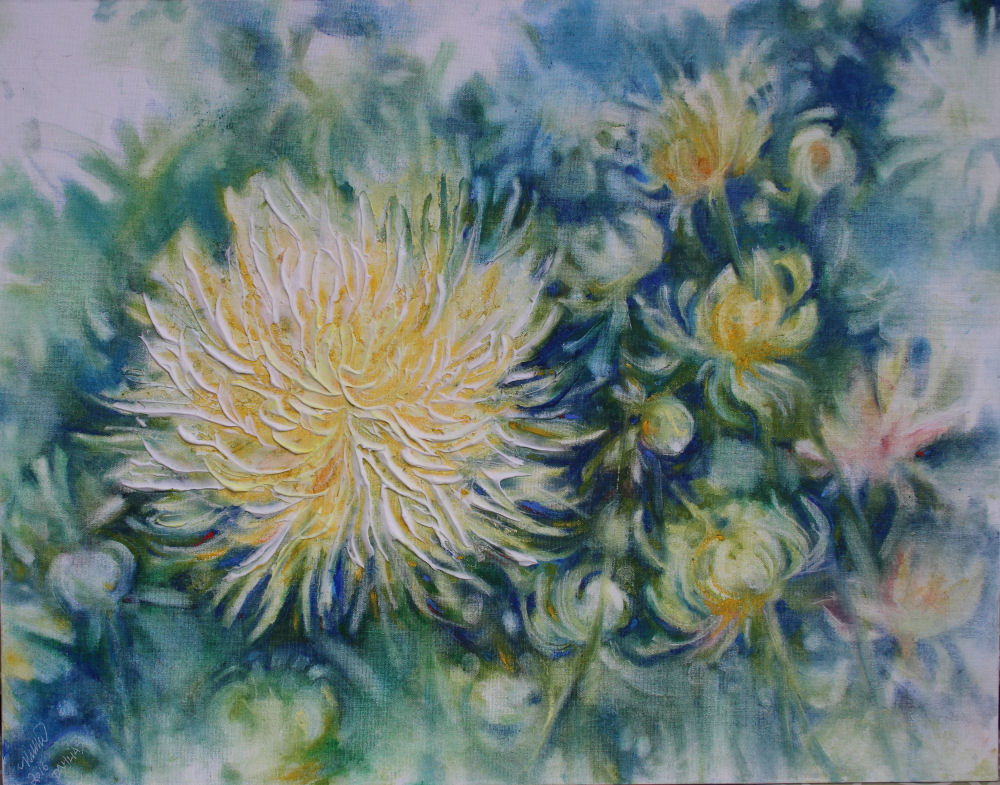 Dahlias, 22H x 28W inches, modeling paste and oil pastel on canvas board