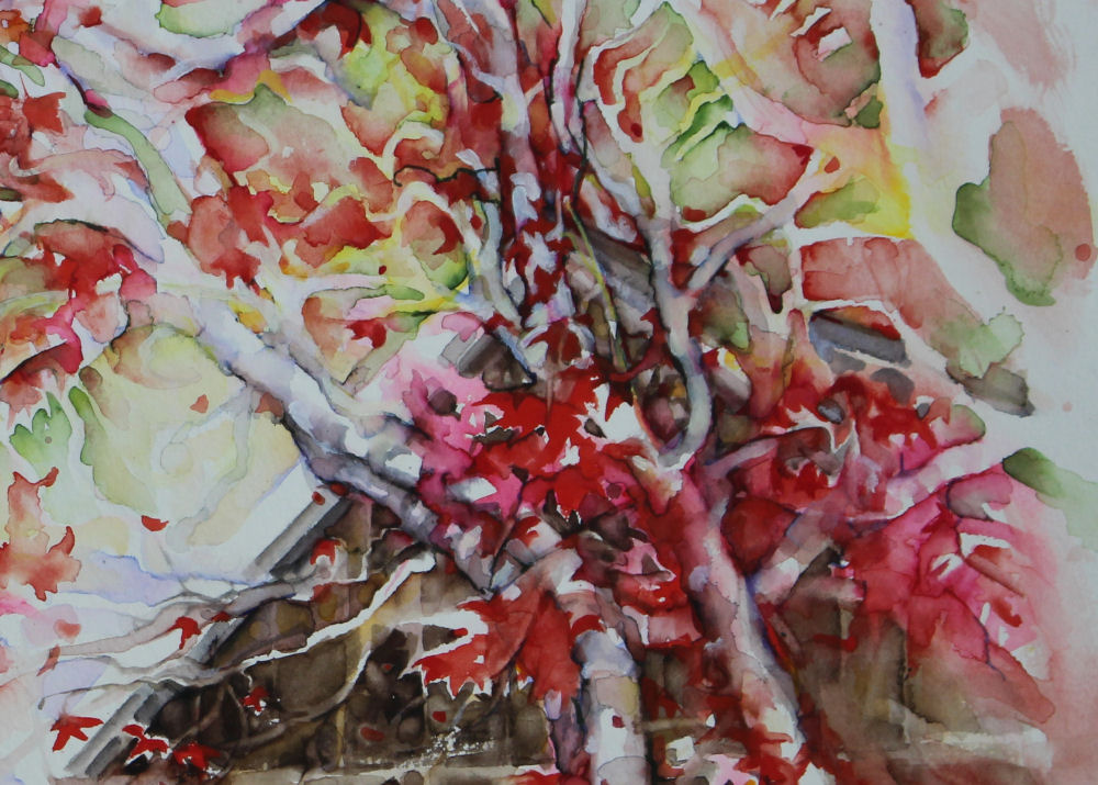 Japanese Maple, right detail of 20W x 15H inches