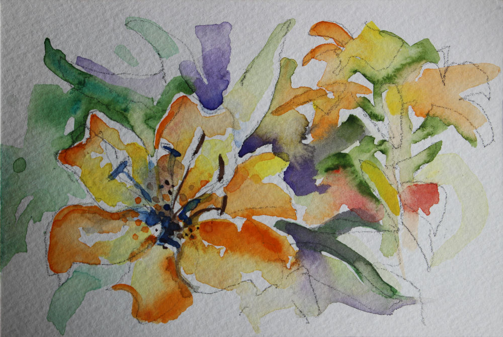 Tiger Lilies, 4 x 6 inch watercolor