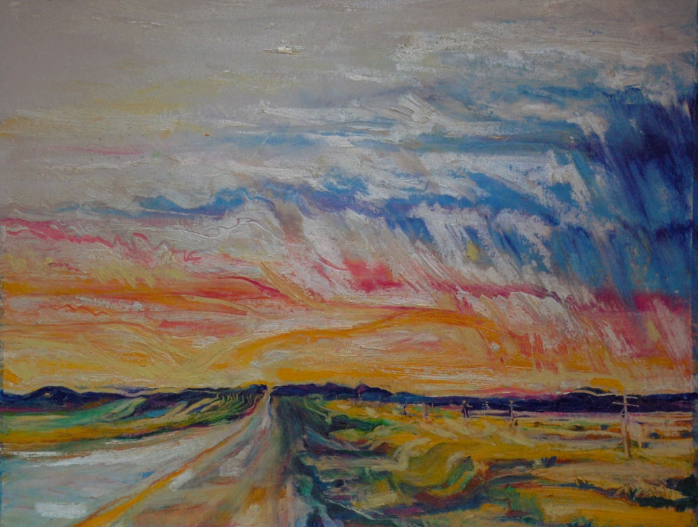New Mexico Sunset, 11 x 14 inches oil pastels on paper