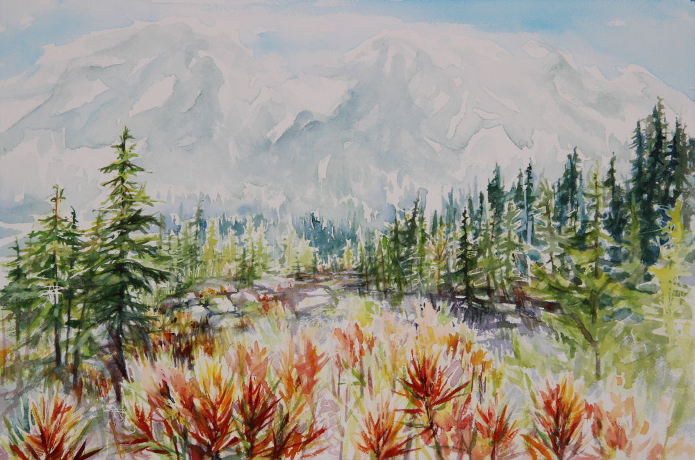 Mt. St. Helen's Indian Paintbrush, 14 x 20 inches watercolors
