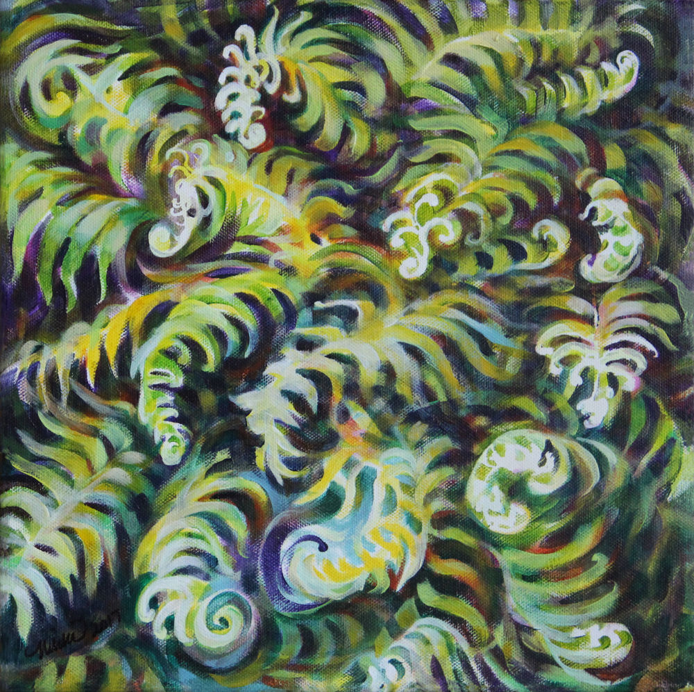 Fern Song, 12 x 12 inches acrylics on canvas