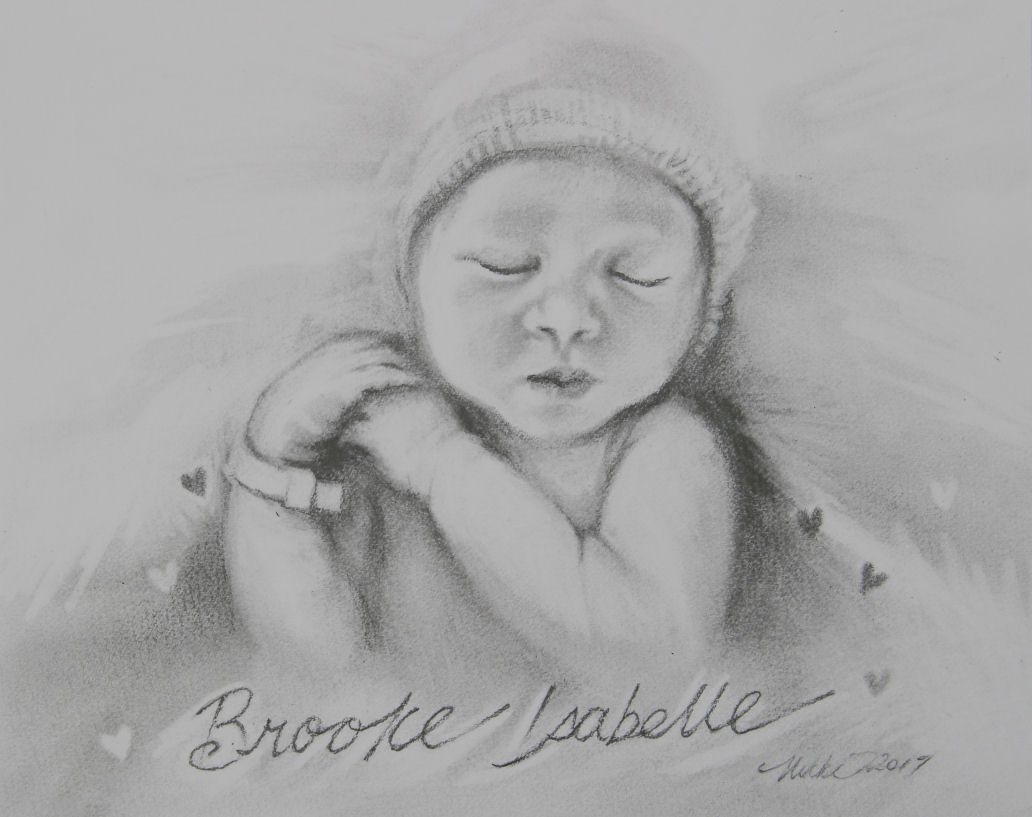 Brooke Isabelle, born last week, 11 x 14 inches graphite on paper