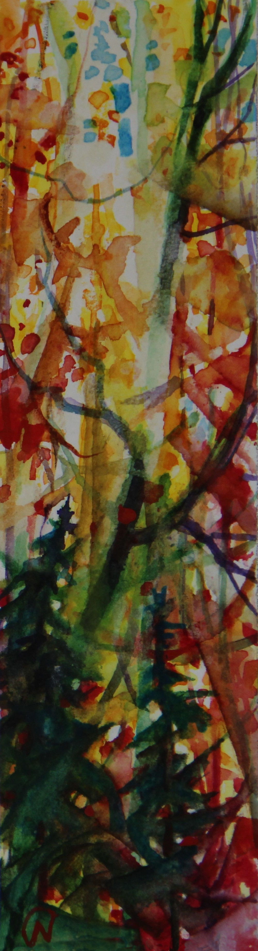 Autumn Forest Scene 06, about 6H x 2W inches watercolors on 140 lb cold pressed