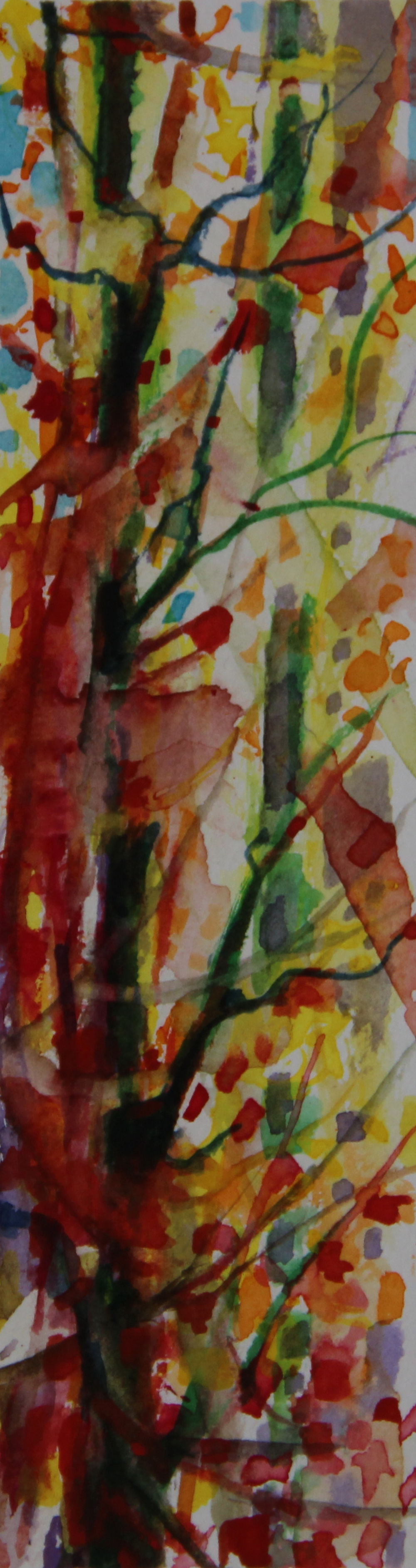 Autumn Forest Scene 05, about 6H x 2W inches watercolors on 140 lb cold pressed